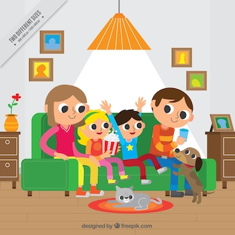 Happy family in living room background