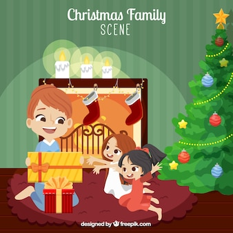 Happy family opening gifts background