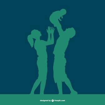 Happy family silhouette in green