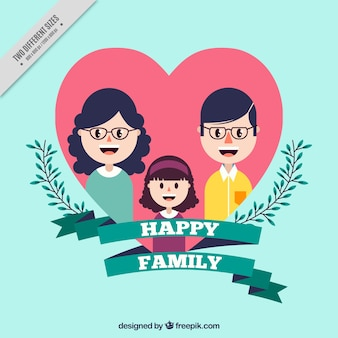 Happy family with heart background