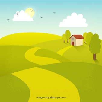 Happy farm in a sunny day