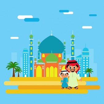 Happy father with his son and mosque background