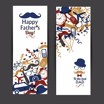 Happy fathers day banner set