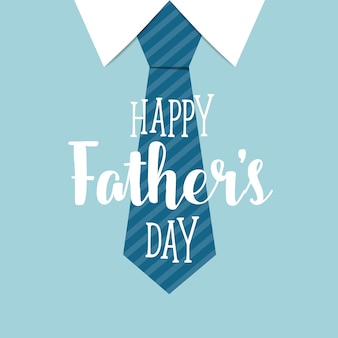 Happy fathers day with blue tie background
