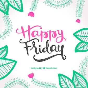 Happy friday vintage background with hand drawn leaves decoration