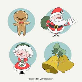 Happy gingerbread man with other christmas characters