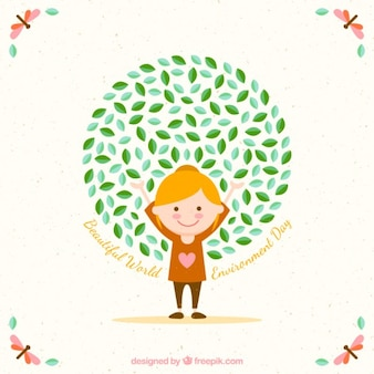 Счастливая девушка фон для день окружающей среды