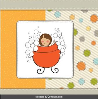 Happy girl taking a bath