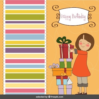 Happy girl with presents birthday card