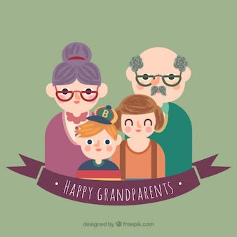 Happy grandparents illustration