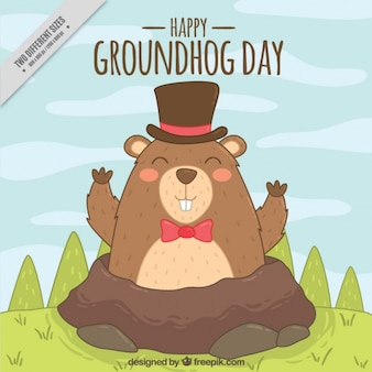 Happy groundhog background with hat