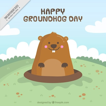 Happy groundhog background
