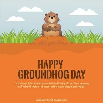 Happy groundhog day background