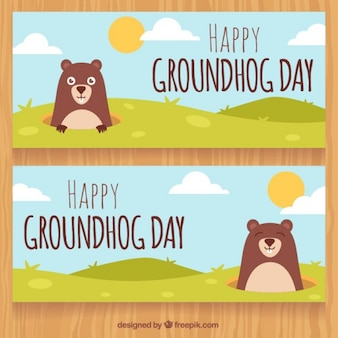 Happy groundhog day banners