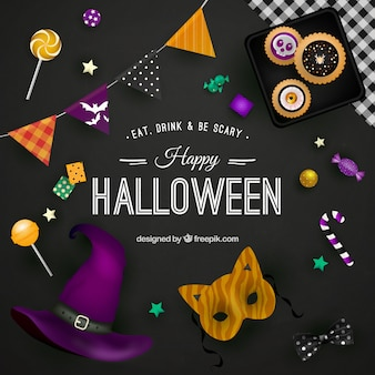Happy halloween background on black surface