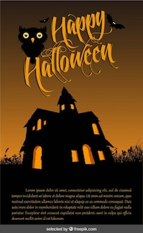 Happy halloween background with and enchanted house