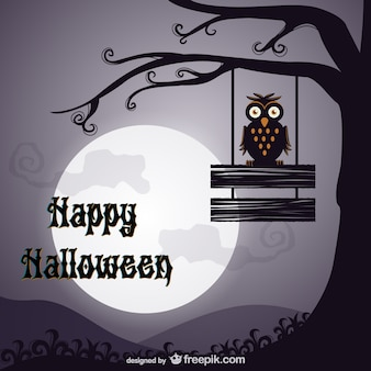Happy Halloween background with owl