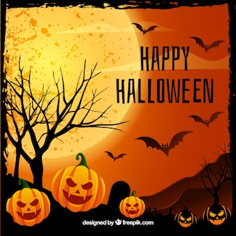 Happy halloween background with pumpkins and bats