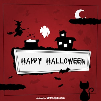 Happy Halloween background with silhouettes