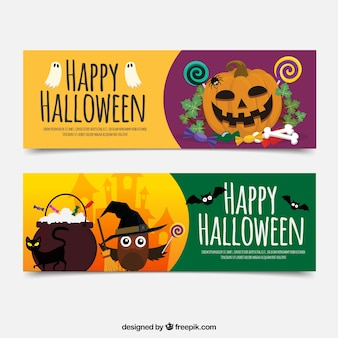 Happy halloween banners with pumpkin and owl