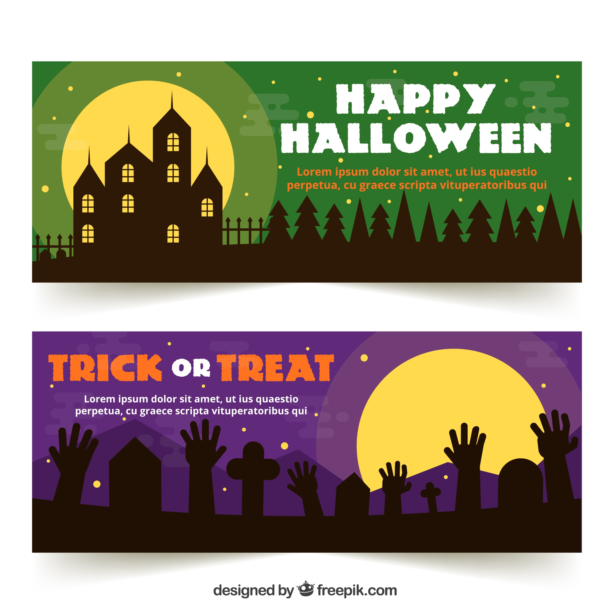 Happy halloween banners with silhouettes