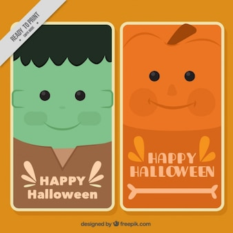 Happy halloween cards with flat monsters