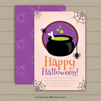 Happy halloween flyer witch's cauldron
