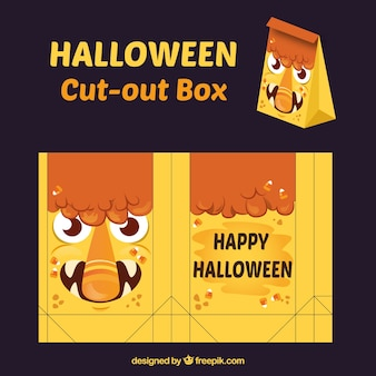 Happy halloween monster cut-out box