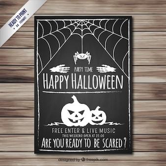 Happy halloween poster in blackboard style