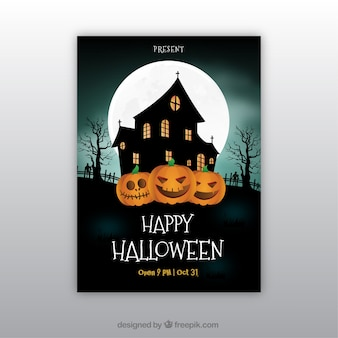 Happy halloween poster with haunted house and pumpkins