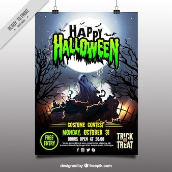 Happy halloween poster with wolf howling at the moon