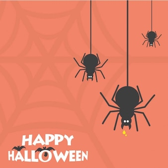 Happy halloween scary spider card