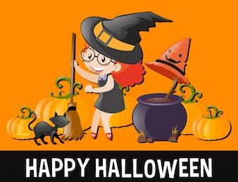 Счастливый Хэллоуин с ребенком в костюме ведьмы