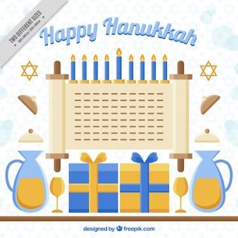 Happy hanukkah background with decorative elements in flat design