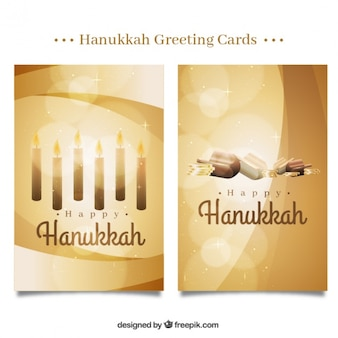 Happy hanukkah with fantastic golden cards