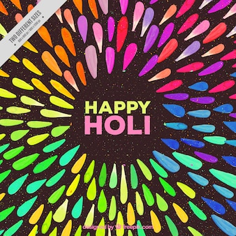 Happy holi background with abstract watercolor shapes
