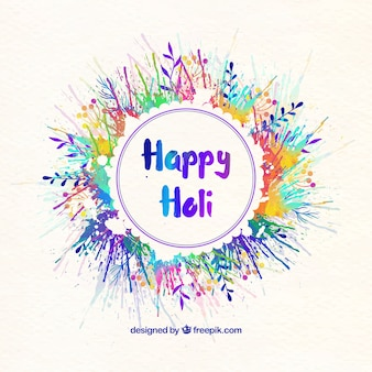 Happy holi watercolor floral wreath background