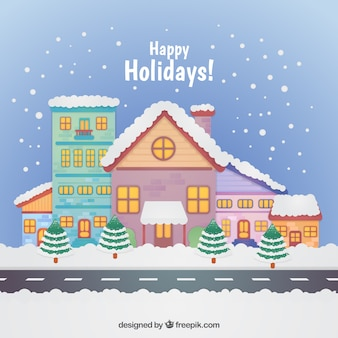 Happy holiday background with snowy houses