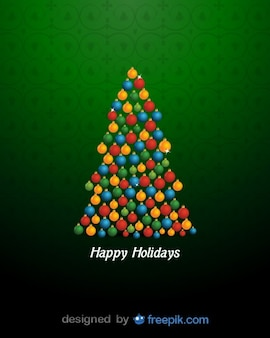 Happy Holidays with a Christmas Tree done with brilliant Christmas Balls