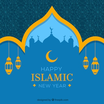 Happy Islamic New Year Background 23 Size 338 Ext Muharram Decorative With Mosque