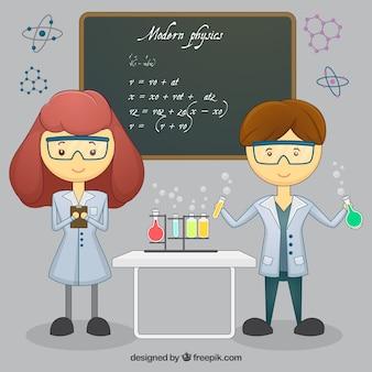 Happy kids in science class