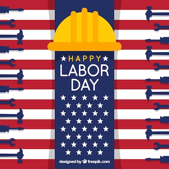 Happy labor day background with tools and helmet in flat design