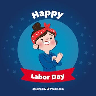 労働者の女性と幸せ労働日の背景