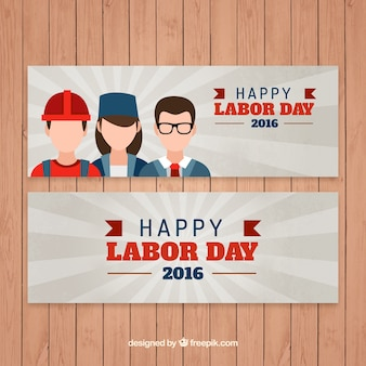 Happy labor day banners with different professions