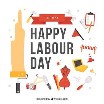 Happy labor day flat design background