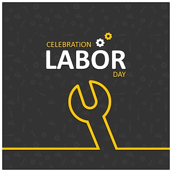 Happy labor day with wrench symbol