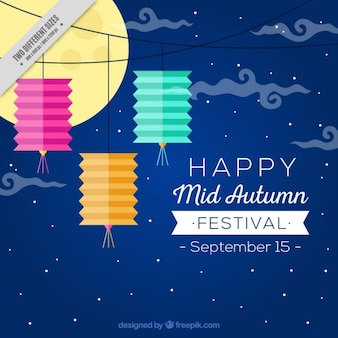 Happy mid autumn festival, background