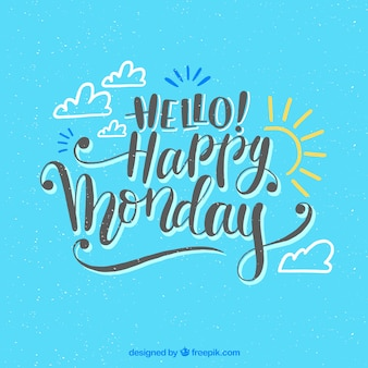 Happy monday blue background with drawing sun and clouds