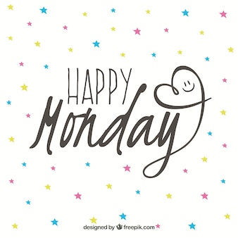 Happy monday colorful stars background