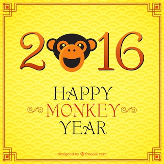 Happy monkey year on a yellow background